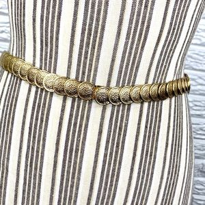 Vintage Thin Elastic Gold Coin Belt